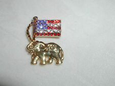Republican Lapel Pin Button Usa Flag Glittering Austrian Crystal Gop Elephant