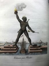 COLOSSUS RHODES TOWN Etching 1829 rare GREECE