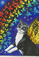 ACEO PRINT OF PAINTING TUXEDO BLACK CAT RYTA RAINBOW STARS ANGEL FAIRY BRIDGE