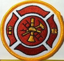 FIRE DEPARTMENT FIREFIGHTER LOGO # 002 Iron-On Patch Emblem Gold  Border