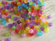 50 x Frosted LUCITE acrylic flower beads cap 10mm ASSORTED COLOURS (LFF10)