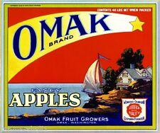 Omak Washington State Omak Sailboat Apple Apples Fruit Crate Label Art Print