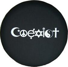 "SpareCover® Brawny Series - COEXIST 30"" - 31"" Black Denim Vinyl Tire Cover"