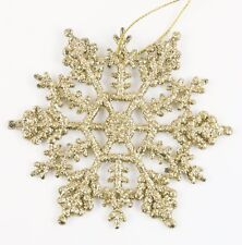 Gold Glitter Snowflake Christmas Ornament Holiday Decoration