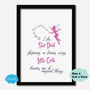 Girls Bedroom Nursery Print FAIRY Wall Art Picture Baby *2 colour options*