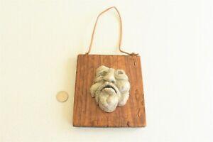 Ceramic Face Sculpture Wood Outsider Art Stanley Dalton Washmon Artist Signed
