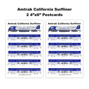 "Amtrak California Surfliner 2 4""x6"" Postcards Andy Fletcher"