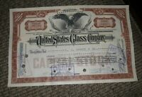 STOCK CERTIFICATE 80 Shares US UNITED STATES GLASS COMPANY CO Pennsylvania OLD!