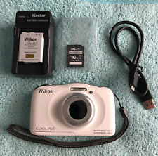 Nikon Coolpix S33 13.2Mp Point & Shoot Camera~White~Waterproof~E xcellent~