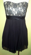 Ladies Black Evening Dress Strapless Knee Length Rosette by Be Cool Size M 8-10
