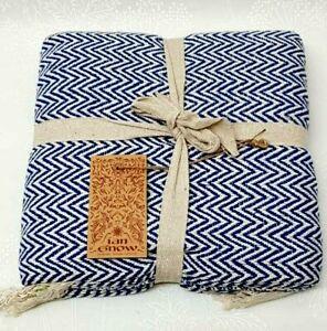 Hand Woven Blue and Cream Throw Zig Zag Design Designer Product