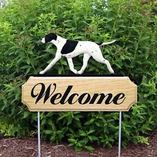 English Pointer Oak Wood Welcome Outdoor Yard Sign Black/White