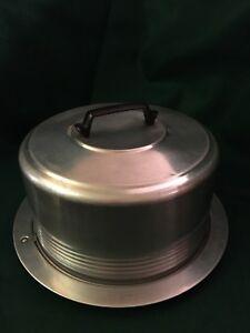 "Retro Mid-century 13"" Regal Quality Aluminum Locking Cake Carrier Pan Plate Wis."