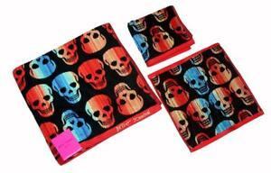 3 Betsey Johnson Skelator Striped Skulls Bath Sheet Hand Towel Washcloth NWT
