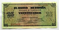 Spain-Guerra Civil. Billete 25 Pesetas 1938 Burgos. SC-/UNC- Serie B. Muy Escaso