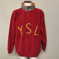 Vintage Yves Saint Laurent Men's Fleece 1/4 Zip Sweatshirt Size L Red 252721