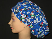 Surgical Scrub Hats/Caps Winter Penguins ice skating w/ snowflakes