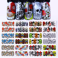 12Patterns Water Decals Halloween Skull Flower Nail Art Transfer Stickers Decor