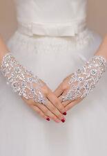 Women White Bridal Gloves |lace Bow Floral Diamante Evening Party Burlesque 4. Lace Diamond Fishnet
