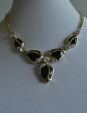 Crystal Necklace In Gold Tone Kirks Folly Tulip Shape Black And