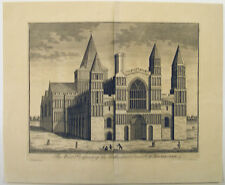 1720s ROCHESTER CATHEDRAL CHURCH KENT ARCHITECTURAL VIEW FOLIO SIZE ENGRAVING