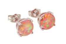 Silver Plated Orange Round Cut Fire Simulated Opal Stud Earrings Fashion Jewelry