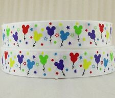 "BTY 7/8"" Mickey Balloons Disney Grosgrain Ribbon Hair Bow Lanyards Kids Lisa"
