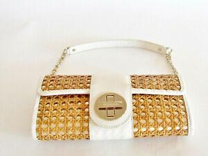Women's Handbags Designer Kate Spade Wicker Straw Clutch Leather White/Gold Bag