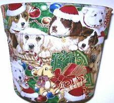 CHRISTMAS DOG LOVERS FLOWERPOT GIFT WRAP SUPPLIES BASKET CONTAINER
