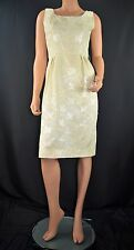 Vintage 60's Mod Scooter GoGo Creamy Yellow Jacquard Floral Dress Size S/M