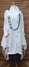 LAGENLOOK LINEN AMAZING QUIRKY 2 PCS  DRESS+JACKET*WHITE*SIZE L-XL BUST UP TO 46