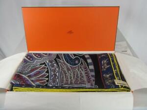 HERMES Cashmere Silk Navy Mauve LE JARDIN DE MAHARANI 140 Shawl Wrap New Tag Box