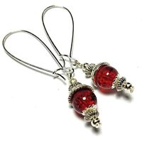 Long Wired Red Earrings Glass Bead Drop Dangle Tibetan Silver Style UK MADE