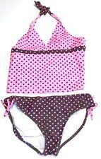 Arizona Girls Plus Tankini Swim Bathing Suit with Wrap Size 18 1/2 Pink Brown