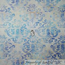 BonEful Fabric FQ Cotton Quilt BATIK Cream Teal Blue Purple Damask Flower Swirl