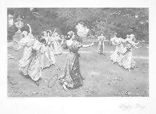 OLD ANTIQUE PRINT GIRLS PLAYING HOOPS HAPPY DAYS COSTUME GARDEN c1903