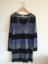 Lovely WITCHERY Striped Wool Blend Sweater Dress Silk Trim Size M EUC