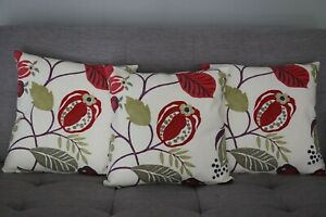 Cushion cover handmade 3 x 16''x16'' cotton colourful wild flowers pattern
