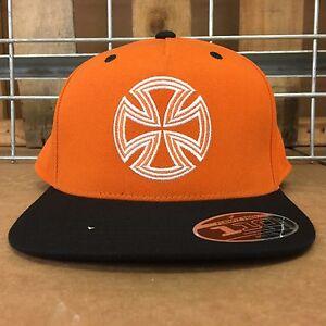 New Independent Men's Orange/Black Lines Flexfit® One Ten Snapback Hat - OS