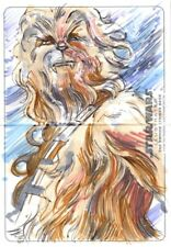 Star Wars ESB Illustrated Panoramic Sketch Card, Chewbacca by Mark Labas