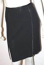ST JOHN Collection Black Straight Skirt 2 Santana Knit Satin Trim Slits Evening