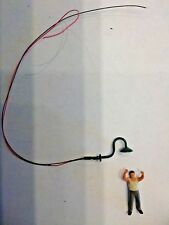 3 HO SCALE PRE-WIRED LIGHTED LED OVERHEAD GOOSENECK LAMPS