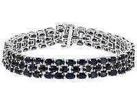 "Bracelet Black Spinel 3-Row Sterling Silver Oval cut Platinum over 8"" Inch Long"