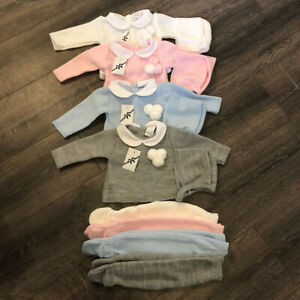 Baby babies boys girls knitted Spanish outfit & bonnet grey pink white blue