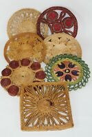 Vintage Rattan Woven Trivets Wicker Straw Hot Pads Bohemian Kitchen Lot of 7