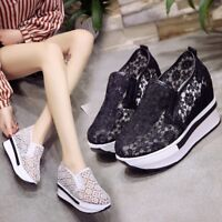 2953101ac27 Womens Casual Wedges Shoes Ladies Comfy Low Wedge Heel Trainer Slip On Pump  New