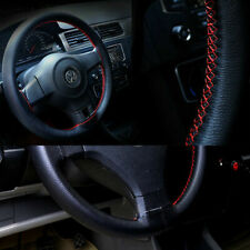 DIY Car Truck Leather Steering Wheel Cover With Needles and Thread Red