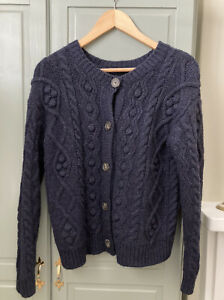 Olive Clothing Two-Way Pompom Aran Cardigan, Navy Size S/M UK 8/10