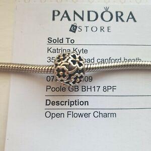 "Genuine Pandora two-tone ""Evening Floral Charm"" Openwork - 791373 - retired"