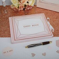 Geo Blush Rose Gold Wedding Guest Book Christening Birthday Party